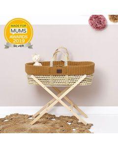 Natural Knitted Moses Basket Honey