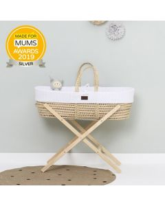 Natural Knitted Moses Basket White