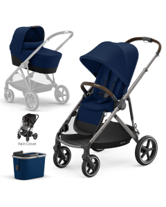 Cybex Gazelle S 4Piece Bundle Navy Blue - Taupe Chassis