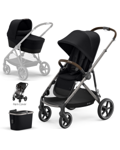 Cybex Gazelle S 4Piece Bundle Deep Black - Taupe Chassis
