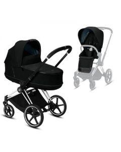 Priam Chrome Black Chassis + Carrycot & Seat Pack