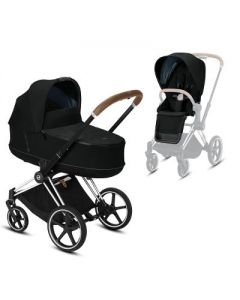Priam chrome brown chassis + carrycot & seat pack