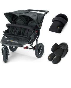 Out N About Nipper V4 Double Black 1 Footmuff & 1 Newborn Insert