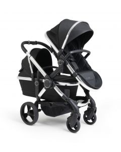 iCandy Peach Pushchair & Carrycot - Double - Black Twill/Chrome
