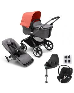 Bugaboo Fox3 Graphite Chassis / Grey Melange Style Pack & CloudZ Combo