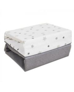 Grey Stars Cot Bed Sheets