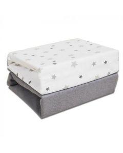 Grey Stars Cot Sheets