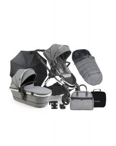 ICandy Peach Light Grey Check - Chrome Chassis & Accessories Bundle