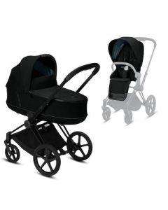 Priam Matt black Chassis + Carrycot & seat pack