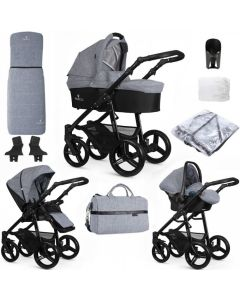 Venicci Soft Medium Grey Black Chassis