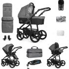 Venicci Soft Edition Denim Grey Black Chassis & Isofix Base